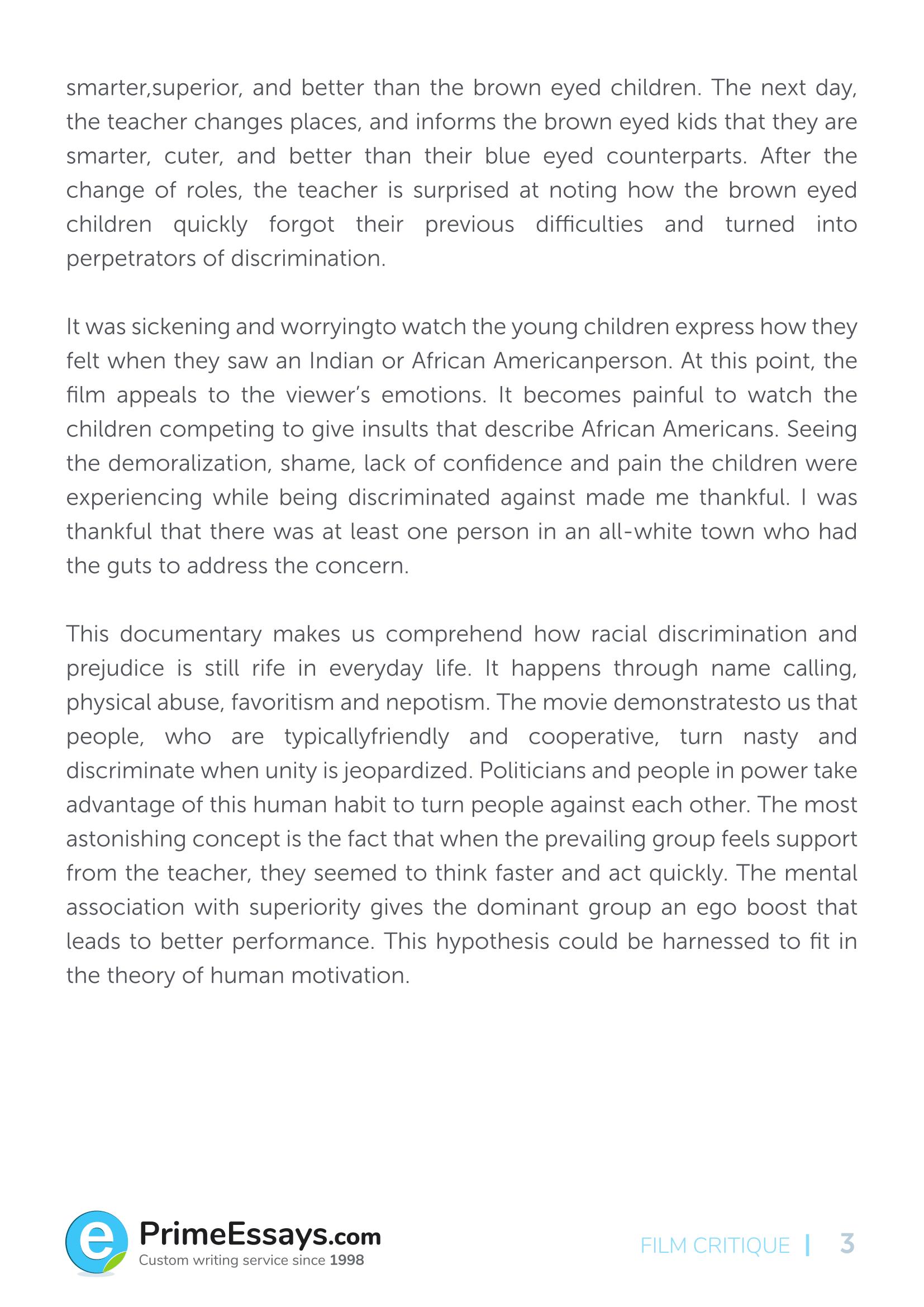 Example of a critique essay